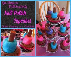 Spa Sleepover Birthday Party: Marshmallow Nail Polish Cupcakes - Sisters Shopping on a Shoestring