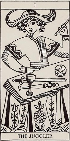 The Juggler, from the Rolla Nordic Tarot. I love this deck!