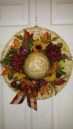 Straw hat fall wreath