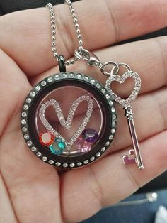 Origami Owl  New Heart Window Plate New Heart Key Dangle