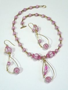 Long lampwork Earrings and necklace set  by ToBeUniqueJewelrys, $34.99