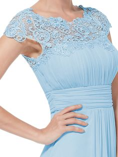 Baby Blue Lace Neckline Open Back Ruched Bust Evening Dress