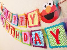 Elmo Birthday Banner Chevron Party Package by CelebrationBanner, $85.00