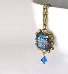 Circuit Board Necklace Turquoise Blue and by CircuitBreakerLabs, $35.00