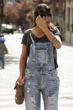 Denim overall outfit - La Mona se viste de seda
