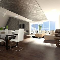 3D visualization of living room of luxury apartment. Fireplace, dining for eight people, relax a comfortable sitting ..