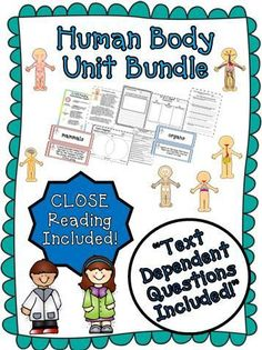 """Human Body Systems Unit ~ Close Reading ~ Text Dependent Questions : We have developed this comprehensive human body unit to contain everything needed to teach a rigorous unit on the human body. It is Common Core aligned and created to facilitate """"Depth of Knowledge"""" (DOK) for your students. $"""