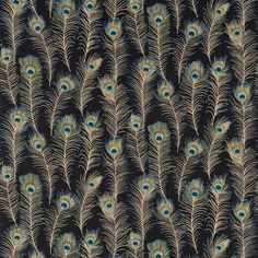 Themis Ink Fabric, fabric featuring beautifully painted peacock feathers printed in luminous colours on an ink background.
