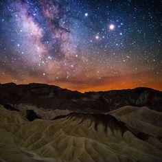 Death Valley National Park in California harbors some of the darkest night skies in the United States. It's a place to gaze in awe at the expanse of the Milky Way, follow a lunar eclipse or track a meteor shower. Sriram Murali  captured this amazing shot at Zabriskie Point as the sky cleared about an hour before sunrise. Photo courtesy of Sriram Murali.