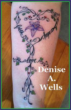 Faith Hope and Love cross tattoo design inked! Design by Denise A. Wells by ♥Denise A. Wells♥, via Flickr