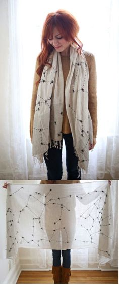 Constellations scarf!  I could do something similar as a shirt for Raileigh