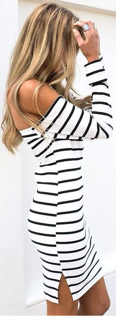 nautical stripe off the shoulder dress