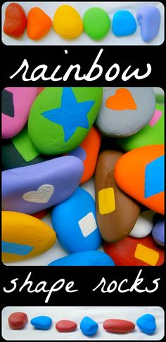 Teaching Shapes and Colors with Rainbow Rocks!!  Colorful, multi-sensory, and FUN learning experience for the kiddos from www.fun-a-day.com