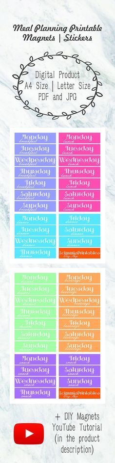 Meal Planning Printable Magnets Template Weekly Meal Planner  Meal Planning Printable Magnets Template   Weekly Meal Planner   Meal Planner   Menu Planning   Menu Planner   Food Planner   Fridge Magnets