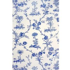 West Indies Toile - Blue On White - Wallcovering by Brunschwig & Fils