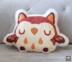 Maroon Owl Cushion by thousandskies