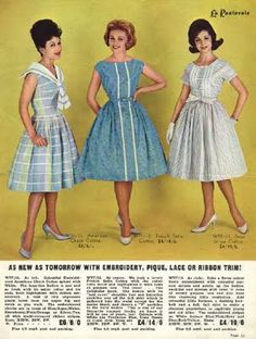"Three sleeveless circle dresses in 1961. Early 1960s, as you can see, dresses had the same classic silhouette with previous decade  Dior 's ""New look"". But this trend was ended from 1963, when women had the big change in fashion 's aware"