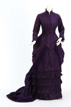 Wedding Gown, attributed to the Christianson sisters, dressmakers of Minneapolis, Minnesota: 1880, silk taffeta. Worn by Anna Malcom Agnew Davis (Mrs. Cushman K. Davis).