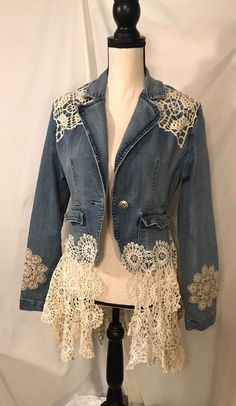 The Avonlea Jacket – Upcycled Clothing Denim Jacket Embellished with Vintage Lace and French Doilies Jr size Lg – 2019 - Denim Diy Denim And Lace, Vintage Outfits, Diy Clothes, Clothes For Women, Jean Jacket Outfits, Denim Ideas, Denim Crafts, Embellished Jeans, Altered Couture