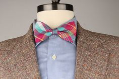 Vtg TWEED Light Brown Speckled Plaid 42 R mens by ThePlaidBowTie, $30.00