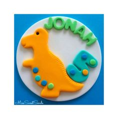 Dinosaur Cake Topper by MissSweetSends on Etsy https://www.etsy.com/listing/205670729/dinosaur-cake-topper