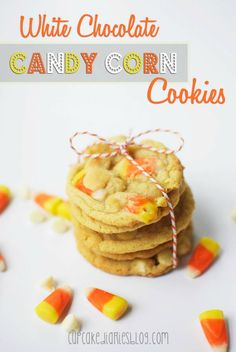 White Chocolate Candy Corn Cookies - Super moist and full of flavor!