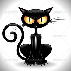 Buy Angry Black Cat Cartoon by Bluedarkat on GraphicRiver. Funny Black Cat Cartoon with big Angry and Mesmerising Yellow Eyes! Crazy Cat Lady, Crazy Cats, I Love Cats, Cool Cats, Gatos Cat, Black Cat Art, Black Cats, Cat Vector, Cat Quotes
