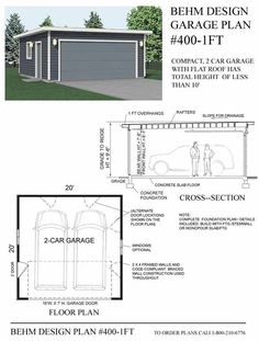 Garage dimensions google search andrew garage for Flat roof garage with deck plans