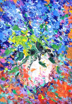 "Blue flowers - Wall art. Oil painting on canvas by artist Dmitry Spiros. Size: 24""x32"" (60 x 80 cm)"