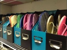 Instead of a space hogging shoe rack, wrangle sandals and flip flops in sleek magazine files. http://hative.com/diy-ideas-with-magazine-storage-box/
