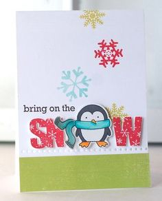 Snowy Penguin Card by Betsy Veldman for Papertrey Ink (October 2013)