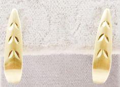 14k Solid Gold J Hoop Earrings Diamond Cut Detail Dainty & Cute Free Shipping #JHoop