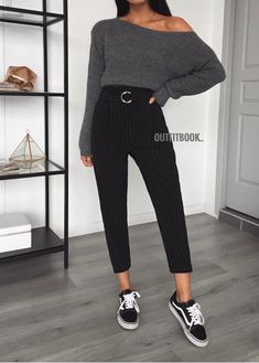 14 casual outfits with dress pants for college College Outfits casual college Dress Outfits pants Casual Dress Outfits, Mode Outfits, Trendy Outfits, Fall Outfits, Summer Outfits, Black Outfits, School Outfits, Outfits With Jeans, Black Vans Outfit