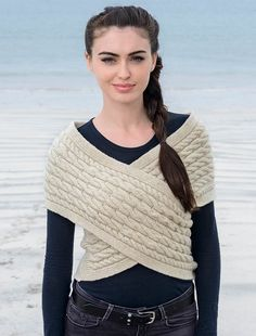 Cable knit wrap, kni