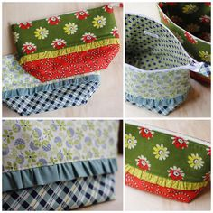 Ruffled Zippered Pouches by twinfibers, via Flickr Based on a pattern by noodlehead