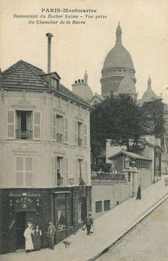 Montmartre - Le rocher suisse vu de la rue du chevalier de la barre