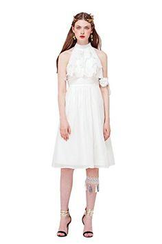 YIGELILA Ladies Cotton Bubble Crepe Small Collar Halter K... http://a.co/9b9c3wK