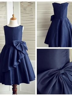 A-line Knee-length Flower Girl Dress - Taffeta Sleeveless - USD $59.99