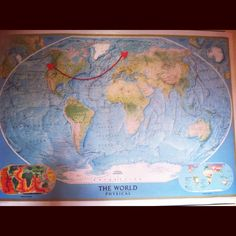Going away party...map showing where they are from & where they are going