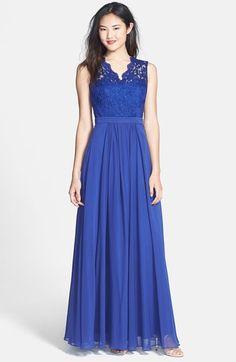 JS Boutique Lace & Chiffon Gown | Nordstrom
