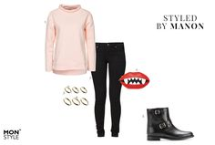 Pink sweater with black jeans and biker boots outfit  - Styled by Manon