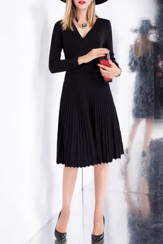 #AdoreWe Dezzal Sweater Dresses - Dezzal V Neck Knit Pleated Jersey Dress Size L - AdoreWe.com