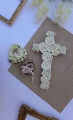 Easter decorations easter decor easter gift rustic cross baptism ideas girl goddaughter giftgodchild gift baptism gift girl christening gift negle Choice Image