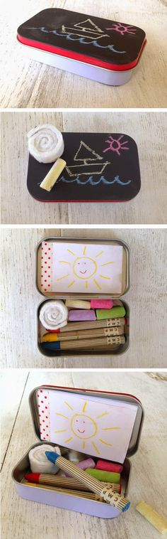 mommo design: IN A MINT TIN. Collection of mint tin crafts for kids Homemade Gifts, Diy Gifts, Diy For Kids, Crafts For Kids, Chalkboard Doodles, Chalkboard Paint, Mint Tins, Altered Tins, Kids Corner