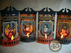 Annette's Creative Journey using G45 Steampunk Spells paper and TH Sizzix dies to make Halloween Tea-lite Treat Holders; Oct 2013