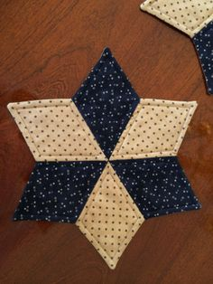 Dark Blue and off white beige Quilted Star Candle Mat by seaquilt,