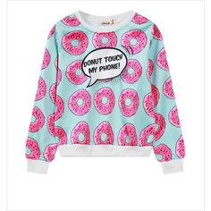 Long Sleeve Donut Print Sweatshirt ($24) ❤ liked on Polyvore featuring tops, hoodies, sweatshirts, print top, long sweatshirt, patterned sweatshirt, long tops and patterned tops