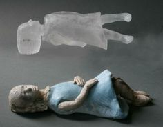 "Made by: Christina Bothwell , ""Incessant Dreamer"" - cast glass, pit fired clay, made in: 2013"