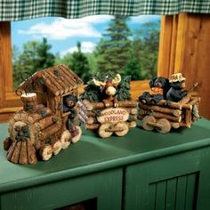 Rustic Log Cabin Decor | Black Bear and Moose Lodge Log Train Rustic Cabin Decor New | eBay