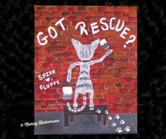 Cat Painting Acrylic on Canvas Pet Rescue Theme by TheRescueMama, $59.99